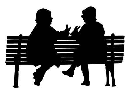 Women gossip at the break. Senior lady friends sitting on bench and talking in public park. Neighbors spread rumors vector silhouette. Backbite mature girls. Outdoor relaxation. Mothers speak about. Stock Illustratie
