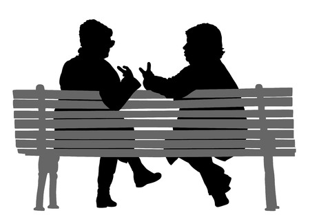 Women gossip at the break. Senior lady friends sitting on bench and talking in public park. Grandmothers spread rumors vector silhouette illustration. Иллюстрация