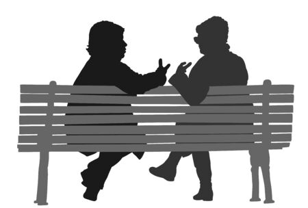 Women gossip at the break. Senior lady friends sitting on bench and talking in public park. Neighbors spread rumors vector silhouette. Backbite mature girls. Outdoor relaxation. Mothers speak about. Illustration