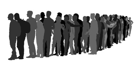 Group of people waiting in line vector silhouette isolated