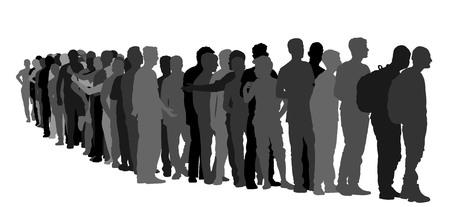 Groep die mensen in lijn vectordiesilhouet wachten op witte achtergrond wordt geïsoleerd. Groep vluchtelingen, migratiecrisis in Europa. Oorlogsmigratiegolven die door het Schengengebied gaan. Grensituatie in de EU. Vector Illustratie