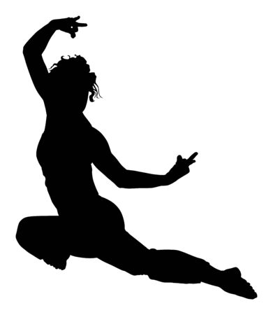 Woman exercises yoga, Yoga pose vector silhouette illustration isolated on white background. Young lady morning practice in gym. Ballet girl pose.Work out, worming up, spirit exercise. Mind control.