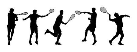 Mann-Tennisspieler-Vektor-Silhouette isoliert auf weißem Hintergrund. Große Reihe von Sport-Tennis-Silhouette isoliert. Bearbeitbare verschiedene Erholungssilhouetten.