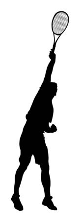 Man tennis players vector silhouette isolated on white background. Big set of sport tennis silhouette isolated. Editable different recreation silhouettes. Vettoriali