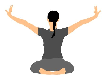 Woman exercises yoga, Yoga pose vector illustration isolated on white background. Young woman morning practice in gym. Ballet girl pose.Work out, warming up, spirit exercise.