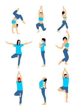 Yoga poses vector silhouette illustration isolated on white background. Woman and man exercises physiotherapy treatment in rehabilitation center. Gym healthy activity. Workout training, sport stretch.