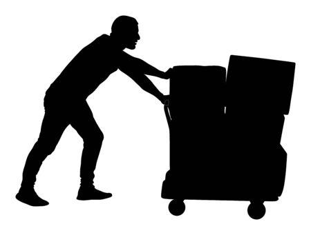 수레를 밀고 흰색 배경에 고립 된 큰 상자 벡터 실루엣 그림을 수행하는 열심히 일합니다. 배달원은 장바구니로 패키지를 이동합니다. 서비스 이동 운송. 창고 작업 활동.