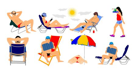 Sunny day on the beach vector illustration. (girl, man, woman, swimmer, tourists). Water sport. Happy people active life. Skin care protection concept. Summer time. Holiday rest and relaxation.