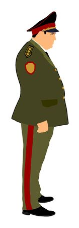 Soviet army officer in uniform vector illustration. Russian general marshal profile vector. Soldier in uniform. Military commander. Marsh officer in a ceremonial procession. Military parade. 矢量图像