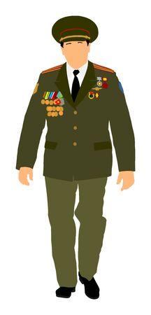 Soviet army officer in uniform vector illustration. Russian general marshal profile vector. Soldier in uniform. Military commander. Marsh officer in a ceremonial procession. Military parade. Illustration