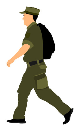 Soldier returning Home, walking back to home vector illustration. (Memorial day, Veterans day, 4th of july, Independence day). Military father.