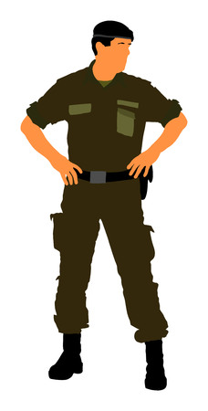 Army soldiers vector isolated on white background. (Memorial day, Veterans day, 4th of july, Independence day). Modern young police man or soldier on duty. Special force member.