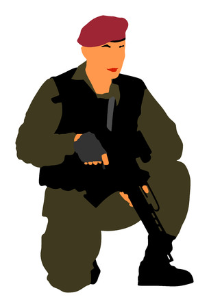 Army soldier with rifle vector isolated on white background. (Memorial day, Veterans day, 4th of july, Independence day). Modern young police man or soldier on duty. Special force member.