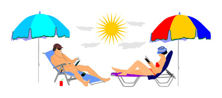 Young beautiful woman and man lying down on sun bed lounge chair on beach, and reading book; Summer luxury vacation by pool, sunbathing; Handsome girl and boy on the beach; Skin care sun protection. Illustration
