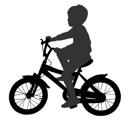 Little boy riding bicycle in silhouette illustration isolated on white background.