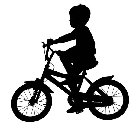 Little boy riding bicycle vector silhouette illustration isolated on white background. Kid enjoying in bike drive. Child active outdoor. Leisure time. Happy boy with favorite toy, gift for birthday.