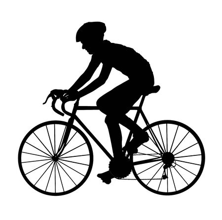 A male bicyclist riding a bicycle isolated against white background silhouette vector illustration. Sportsman in race. Giro, tour, competition. Man riding bicycle. Boy on bike. Biker outdoor race.