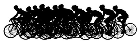 Group of bicyclists in race riding a bicycle isolated against white background silhouette vector illustration. Sport tourist company friends on bicycles . Silhouette people, mountain bike. Friendship.