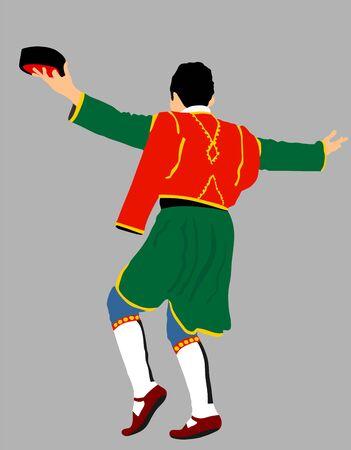 Montenegro traditional wedding dance Oro. Balkan music player and singer vector illustration. Folklore event. Groom dancer. Фото со стока - 129193936