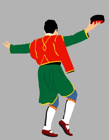 Montenegro traditional wedding dance Oro. Balkan music player and singer vector illustration. Folklore event. Groom dancer.