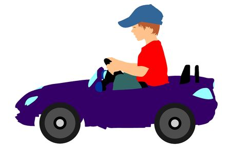 Little boy driving mini car vector silhouette illustration. Child with toy automobile. Kid driving pedal car. Birthday gift for son. Çizim