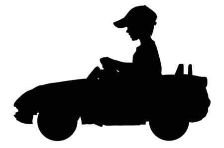 Little boy driving mini car vector silhouette illustration. Child with toy automobile. Kid driving pedal car .