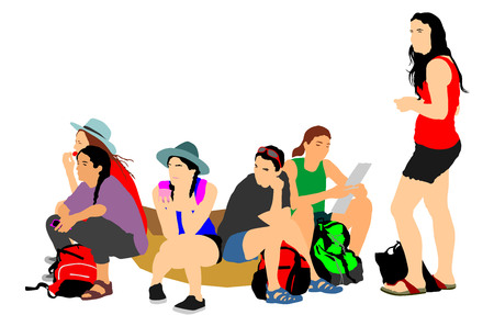 Tourist girls traveler rest and waiting taxi to hostel, vector illustration isolated on white background. World traveler. Women passengers group with backpack waiting  bus for airport. Sport team.