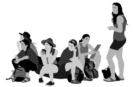 Tired tourist girls traveler rest and waiting taxi to hostel, vector illustration isolated white background. World traveler. Women passengers group with backpack waiting  bus for airport. Sport team.