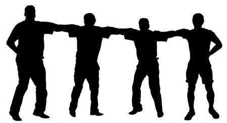 A Greek Evzone dancing group vector silhouette isolated on white background. Traditional wedding dance. Dancing man silhouette vector illustration. Traditional Balkan dance. Sirtaki, Syrtaki, Zorba Иллюстрация