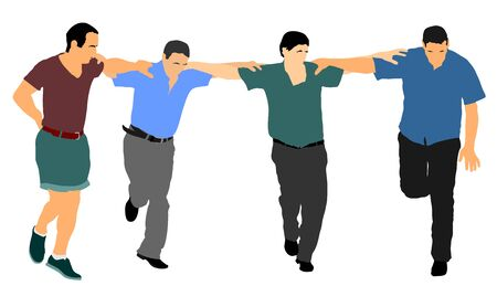 A Greek Evzone dancing group vector isolated on white background. Traditional folk dance. Dancing man vector illustration. Traditional Balkan dance kolo. Sirtaki, Syrtaki, dance. Wedding dance. Фото со стока - 129194016
