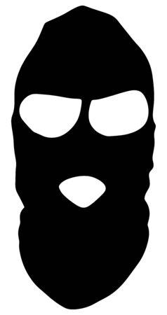 Terrorist mask vector silhouette isolated on white background. Robber, stealer in phantom mask.