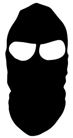 Symbol of a bandit or terrorist mask vector. Burglar black mask vector. Cover face icon.