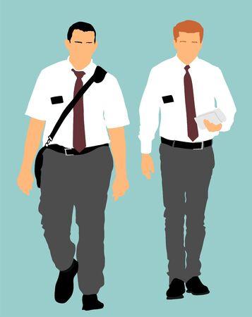 Témoins de Jéhovah dans l'illustration vectorielle de la rue. Agitation publique et interprétation pour la nouvelle religion. Recrutement dans une nouvelle foi. Recrutement agressif.