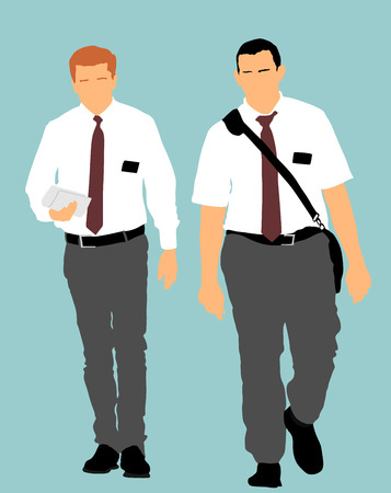 Jehovahs witnesses in the street vector illustration. Public agitation and interpretation for new religion.  Recruiting into a new faith. Agressive recruiting.