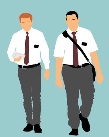 Les témoins de Jéhovah dans l'illustration vectorielle de rue. Agitation publique et interprétation pour une nouvelle religion. Recrutement dans une nouvelle foi. Le recrutement agressif.