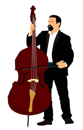 Man on street playing contra-bass vector illustration . Music man with contrabass standing on the concert event. Double bass performer.