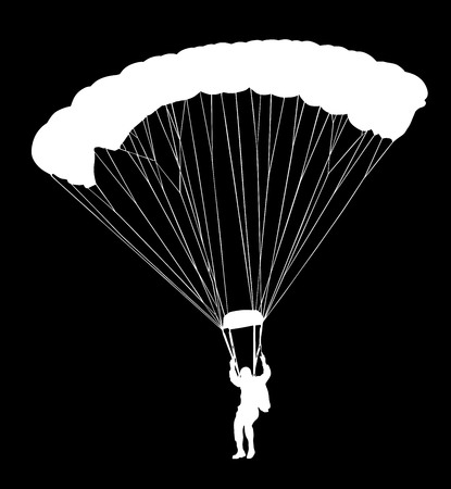 Parachutist in flight vector silhouette illustration isolated on black background. Insurance risk concept. Man in air jump. Skydiver acrobatics.