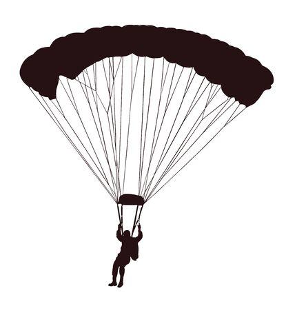 Fallschirmspringer im Flug Vektor-Silhouette-Illustration isoliert auf weißem Hintergrund. Versicherungsrisikokonzept. Mann im Luftsprung. Fallschirmspringer-Akrobatik. Militärische Luftdesant. Luftwaffe. Airdrop-Soldat.