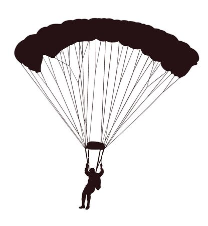 Paracaidista en vuelo ilustración de silueta de vector aislado sobre fondo blanco. Concepto de riesgo de seguro. Hombre en salto de aire. Acrobacias de paracaidista. Desant de aire militar. Fuerza aérea. Soldado de lanzamiento aéreo.