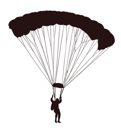 飛行ベクトル シルエット イラスト白い背景で隔離の落下傘兵。