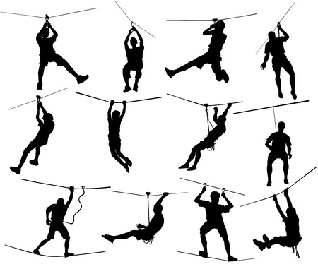 Extreme sportsman took down with rope vector illustration.