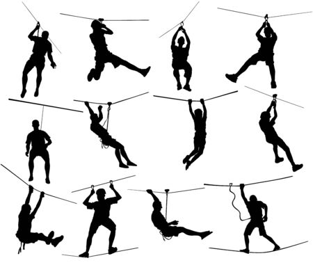 Extreme sportsman took down with rope. Man climbing vector silhouette illustration, isolated on white. Sport weekend zip line action in adventure park rope ladder. Ropeway for fun, team building.