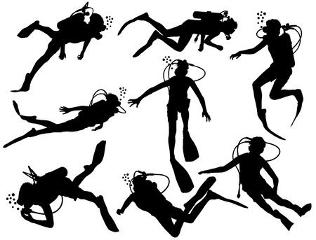 Scuba diving silhouette vector illustration isolated on white background. Sport underwater, lake, sea, glove and flashlight, mask and snorkel. Diving school, Scuba school. Beach fun, fishing,swimming