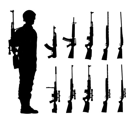 Saluting army soldier with rifle on duty vector (Memorial day, Veterans day, 4th of july, Independence day )Rifle collection vector silhouette isolated. Sniper rifle, semi automatic, carbine, kalash.