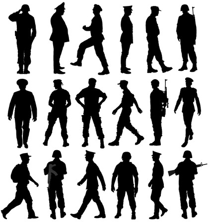 Grande collection de différents soldats vector illustration silhouette isolé sur fond blanc. Saluant le vecteur silhouette du soldat de l'armée. (Mémorial, fête des anciens combattants). armée et concept militaire.