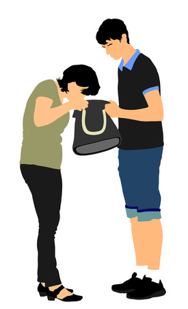Woman looking for a wallet and keys on the bag, vector illustration. Stressful situation on the street, loss of money. Tourist lady lost passport. Problems at the border. No debt payment card in bag.