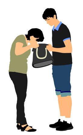 Mujer que busca una cartera y llaves en el bolso, ilustración del vector. Situación estresante en la calle, pérdida de dinero. Señora turista perdió el pasaporte. Problemas en la frontera. No hay tarjeta de pago de la deuda en la bolsa.