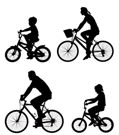Happy family riding bicycle together, vector silhouette. Little boy and girl riding bicycle with parents. Mother and father with kids outdoor enjoying in bike driving. Biker family. Electric bike.