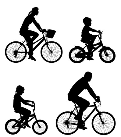 Happy family riding bicycle together, vector silhouette. Little boy and girl riding bicycle with parents. Mother and father with kids outdoor enjoying in bike driving. Biker family. Illustration