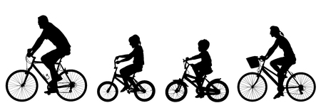 Happy family riding bicycle together, vector silhouette. Little boy and girl riding bicycle with parents. Mother and father with kids outdoor enjoying in bike driving. Biker family. Electric bike. Ilustração